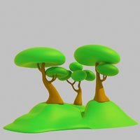 Low Poly Toon Tree Set