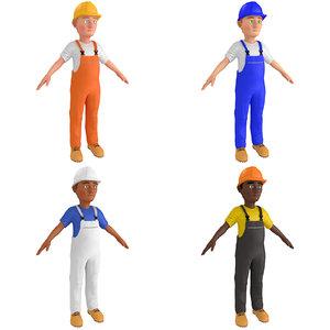 pack cartoon worker man 3D model