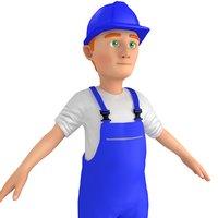 cartoon worker man 2 model