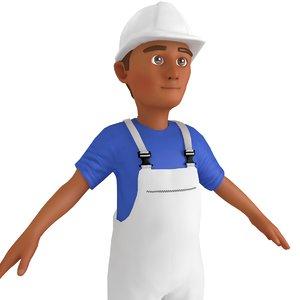 cartoon worker 3 3D model