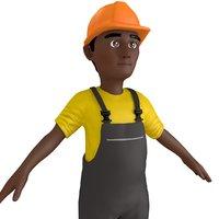 3D cartoon worker man