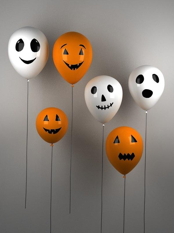 3D halloween balloons animation -