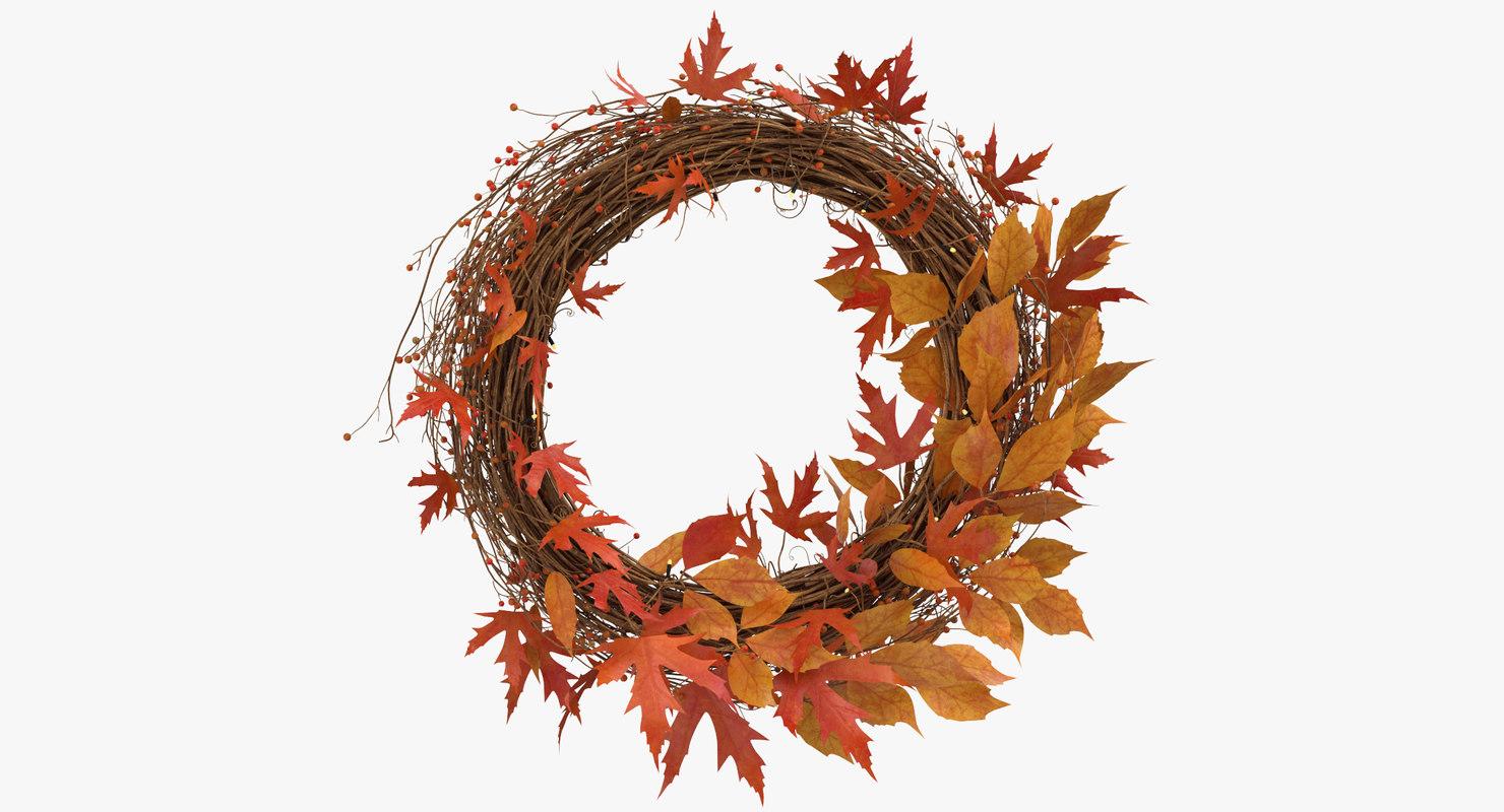 3D model autumn wreath 02