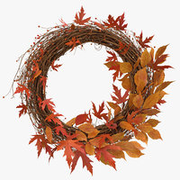 3D model autumn wreath 02