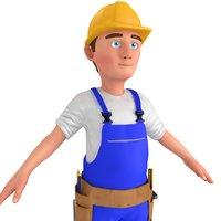 3D cartoon worker man model