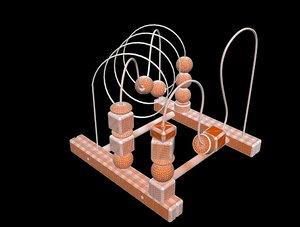 3D wood bead maze model