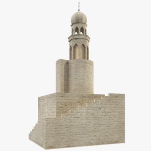 3D mosque minaret tower