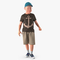 3D standing teenage boy model