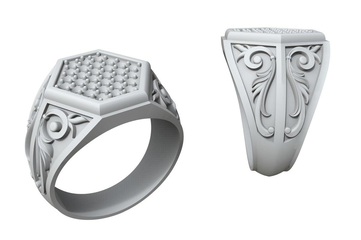 jewellery ring stones patterns 3D model