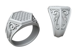 jewellery ring stones patterns 3D model