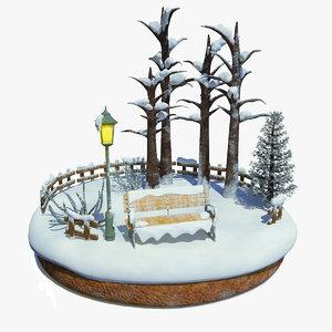 3D model snowscape christmas t