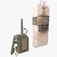 3D model c4 explosive detonator