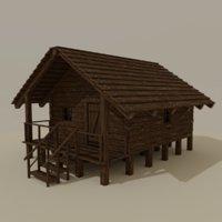 3D wooden cabin
