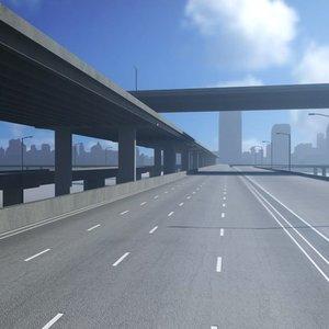freeway roads street 3D model