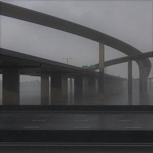 3D model freeway roads street