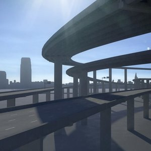 3D freeway roads street
