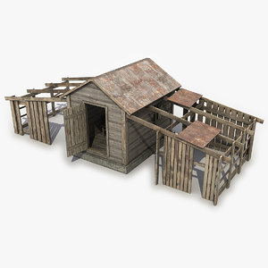 3D old wooden house model