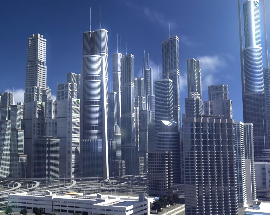 3D freeway city environment