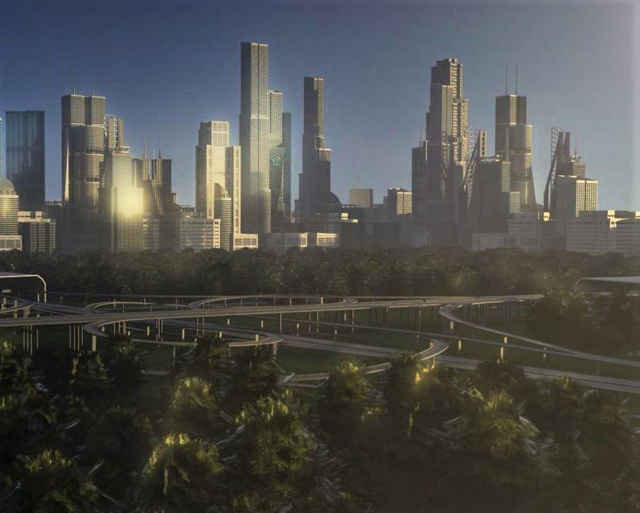 3D model freeway city environment