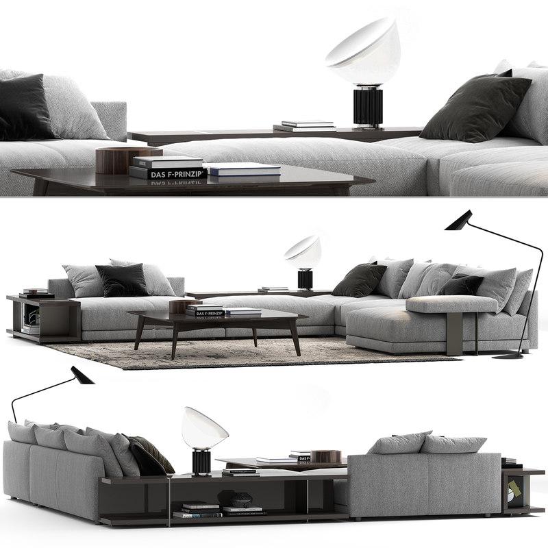 3D poliform bristol sofa set