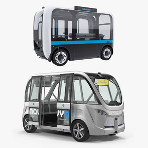 rigged self driving buses 3D model