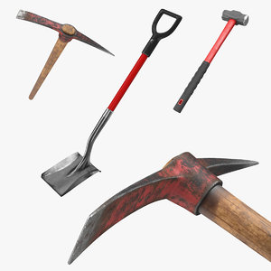 pickaxe shovel hammer 3D model