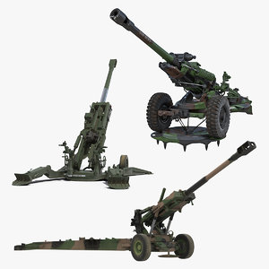 3D rigged howitzers model