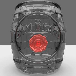 jim beam barrel shot glass 3D model