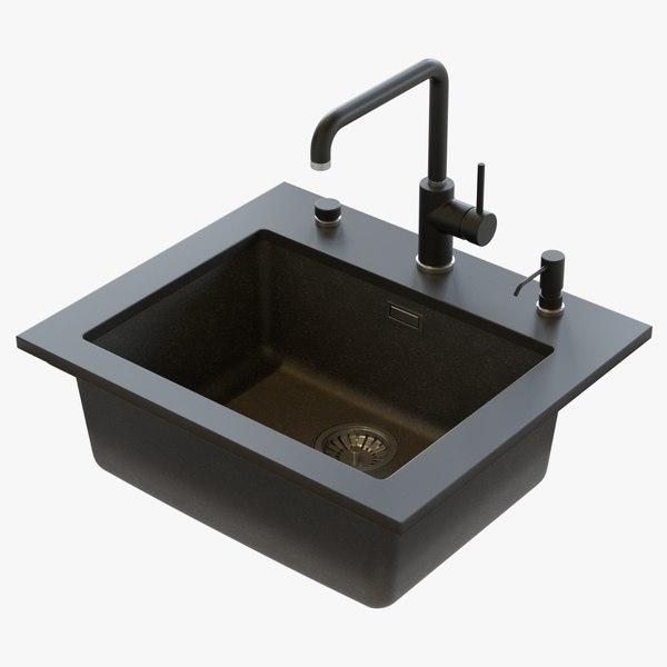 3D suspended kitchen sink