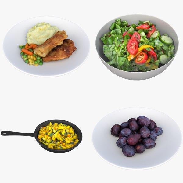salad vegetable dish 3D