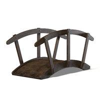 small bridge dark wood 3D model