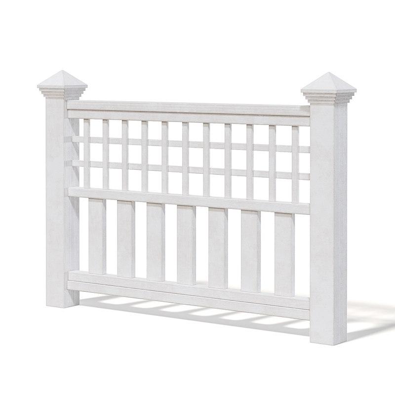 3D wooden fence white model
