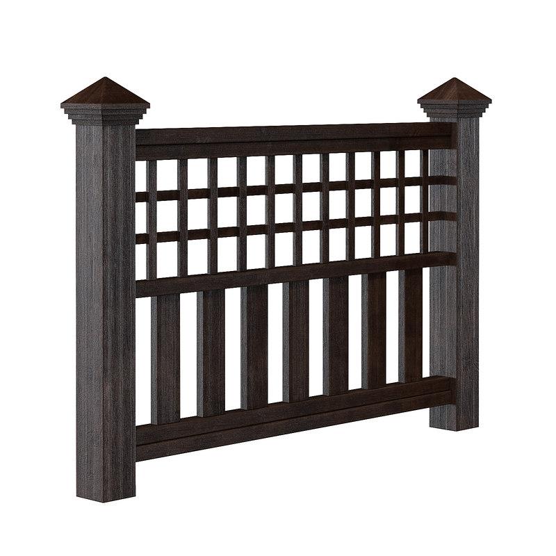 3D dark wooden fence