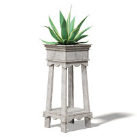 3D model aloe wooden planter