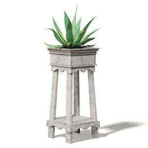 3D model aloe wooden planter