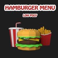 3D hamburger drink patato