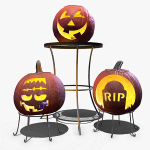 carved pumpkins 3D model
