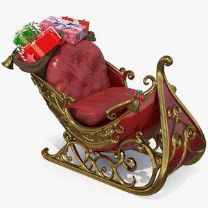 santa claus sleigh gift 3D model