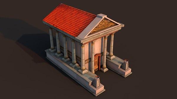 3D ancient temple rome model