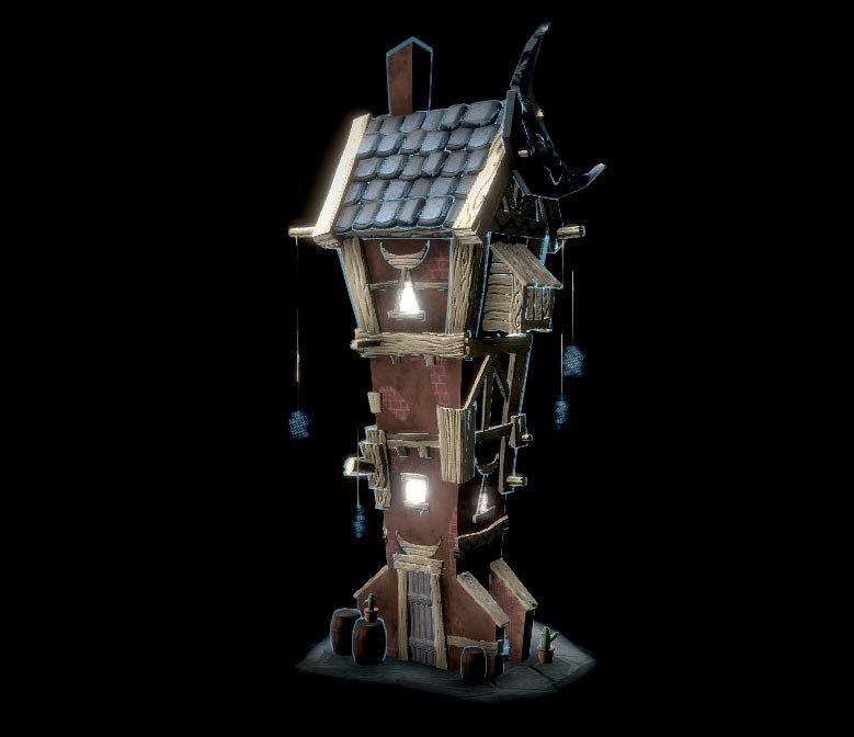 3D model tower moon