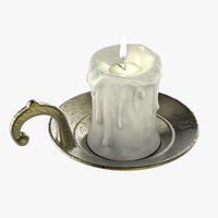 Old Candlestick with Candle & Flame