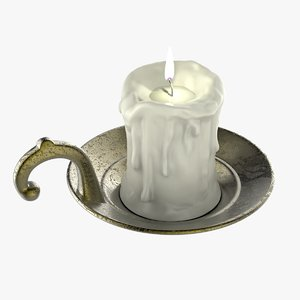 3D model old candlestick candle flame