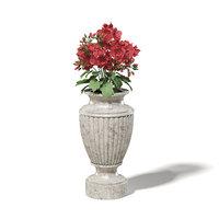 3D model stone vase flowers