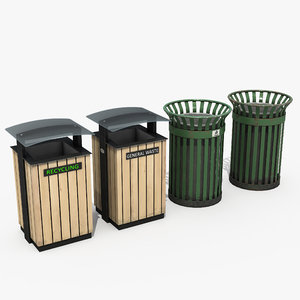 park trash bins model