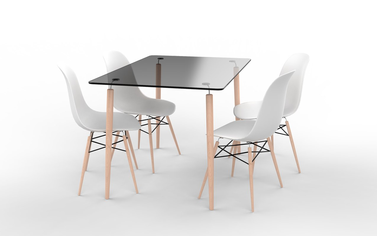 eames glass table chairs 3D
