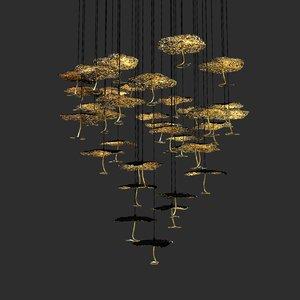 chandelier gold moon catellani 3D model