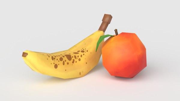 fruit peach polys banana 3D