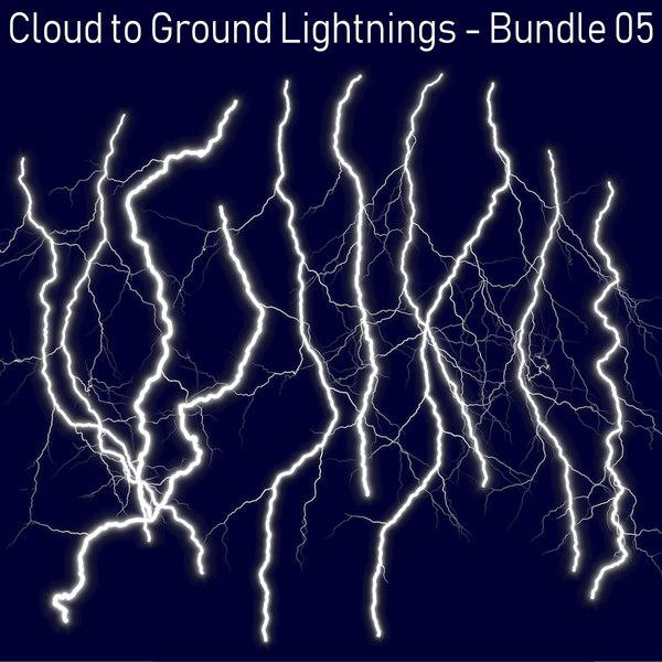 3D model 10 lightnings realistic -