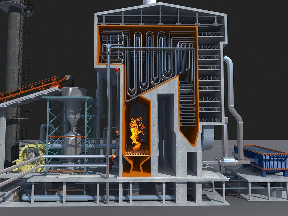 power stations diagrams 3D model