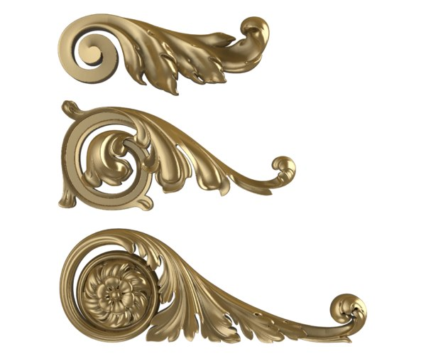 set bracket scroll acanthus 3D model